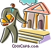 Businessman making a deposit at the bank Vector Clip Art graphic
