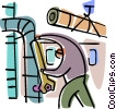 Construction worker tightening bolt Vector Clip Art picture