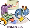 Business people on the phone and charting success Vector Clip Art image