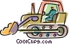 Operator driving bulldozer Vector Clipart illustration