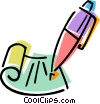 Fountain Pen and letter Vector Clipart picture