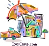 Insurance concept house and car Vector Clipart illustration