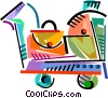 Vector Clip Art graphic  of a Hand cart with luggage