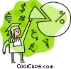 Female graduate pie chart and currency symbols Vector Clip Art graphic