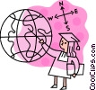 Female graduate with pointer and globe Vector Clip Art picture