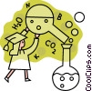 Vector Clipart graphic  of a Female graduate with beakers