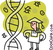 Female graduate with DNA strand Vector Clipart graphic