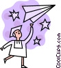 Male graduate with paper airplane Vector Clip Art picture