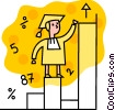Male graduate climbing graph Vector Clip Art graphic