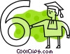 Vector Clipart illustration  of a Male graduate with the number