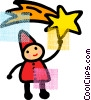 Child catching a shooting star Vector Clipart illustration