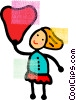 Woman holding a valentine's day wish Vector Clipart picture