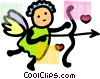 Vector Clipart graphic  of a Cupid with bow and arrow