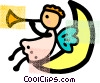 Angel sitting on the moon playing horn Vector Clipart illustration