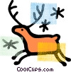 Vector Clip Art image  of a Reindeer running