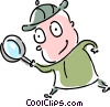 Investigator with magnifying glass Vector Clipart graphic
