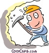 Coal miner with his pick axe Vector Clip Art image