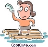 Woman stranded on a raft Vector Clipart graphic