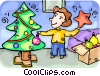 Woman decorating her Christmas tree Vector Clipart graphic