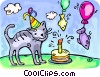 Cat and his birthday cake Vector Clip Art image