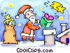 Vector Clip Art picture  of a Santa loading the chimney with