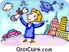 Vector Clip Art picture  of a Student celebrating her