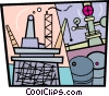 Vector Clip Art image  of a Offshore Drilling Platforms