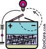 Vector Clipart graphic  of a Battery and light bulb