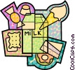 Vector Clipart graphic  of a Milk with cake, ice cream, candies