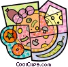 Vector Clip Art image  of a Pizza with pepperoni, cheese, tomatoes