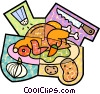 Roast turkey with garlic, potatoes, salt and carving knife Vector Clip Art picture