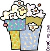 Overflowing bag of popcorn Vector Clipart illustration