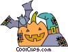 Jack-o-lantern with bat and witches hat Vector Clipart image