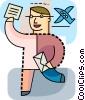Vector Clipart illustration  of a Man receiving travel tickets