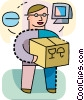 Man receiving on-line order Vector Clipart image