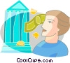 Vector Clip Art image  of a man with bank and currency