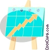 Vector Clip Art picture  of a flip cart with arrow