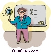 Male geography teacher with globe Vector Clipart illustration