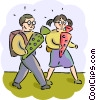 Students on the way to class Vector Clip Art picture