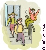 Students leaving after school Vector Clipart image