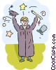 Student celebrating on graduation day Vector Clip Art picture