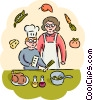 Mother and son preparing dinner Vector Clipart picture