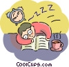 Student trying to study for exam but fell asleep Vector Clipart graphic