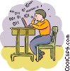 Student work on code in computer class Vector Clip Art image
