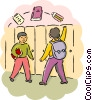 Students walking by lockers Vector Clip Art graphic