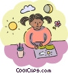 Girl painting a picture Vector Clipart picture