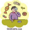 Student in science class with DNA Vector Clipart picture