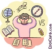 Student overwhelmed while studying for exams Vector Clipart illustration