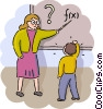 Math teacher helping student with problem Vector Clipart picture