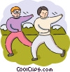 Men practicing Tai Chi Vector Clip Art picture